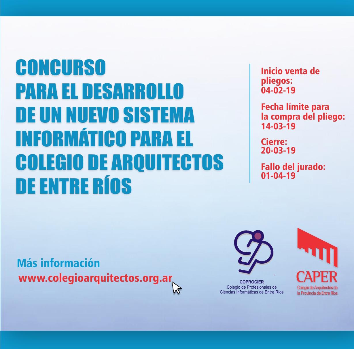 Concurso: Desarrollo de un Sistema Informático para el Colegio de Arquitectos de Entre Ríos