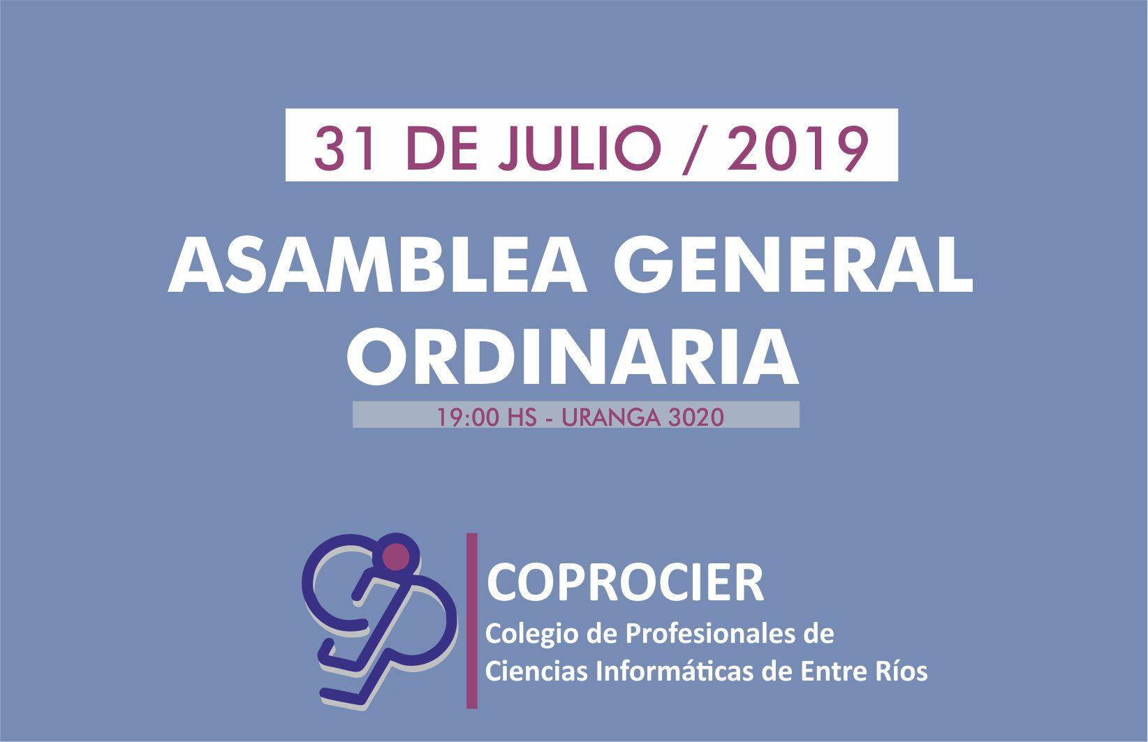 COPROCIER realizará su Asamblea Ordinaria el  31 de julio