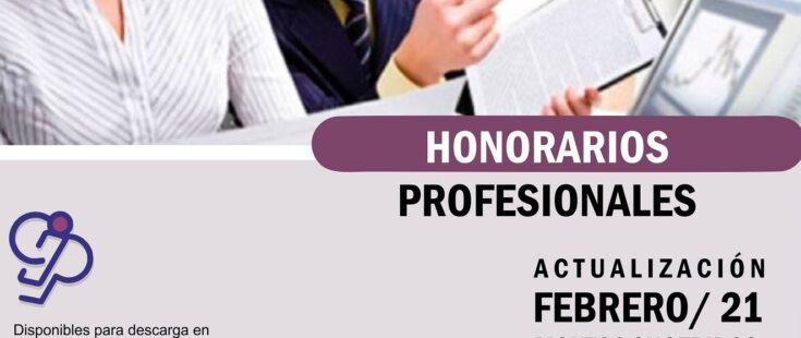 Honorarios profesionales sugeridos: actualización Febrero /2021